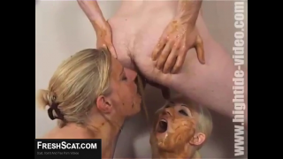 Scat Threesome With Lesbian And Guy Featuring Louise Hunter In Scat Porn Video