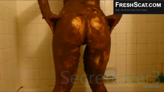 Really Cute Teen Covers Herself In Scat From Head To Toe During Recorded Webcam Scat Scene