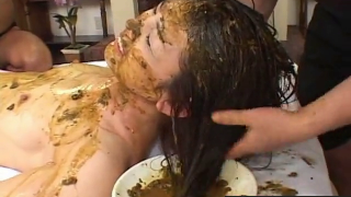 Asian Girl Gets Her Hair Washed In Enema Shit And Her Petite Body Smeared With Poop On Webcam