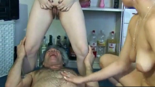 Dirty Old Man Enjoys The Piss And Shit From Two Other Hot Young Girls On Webcam