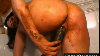 Dirty Scat Girl Covered In Shit Fucking Herself With Sex Toy Hard