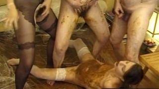 Vintage Group Scat Sex Scene With Lots Of Piss And Shit Play