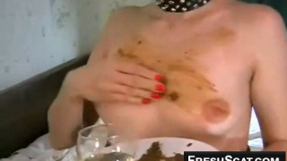 Yummy Scat Dinner For One Lucky Woman As She Eats Shit Drinks Piss And Smears Scat On Tits On Webcam