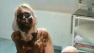 Blonde Girl Covered And Smeared In Shit During Live Scat Webcam Scene