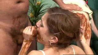 Scat Threesome Turns Wild Very Fast In This Vintage Scat Scene