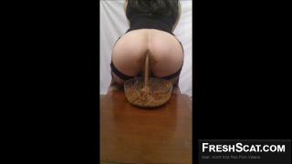 Horny Transgender Scat Queen Fills Bowl Up With Messy Scat On Live Webcam