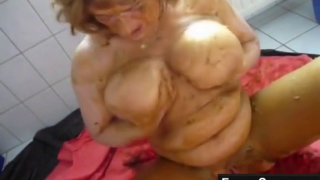 Grandma Loves Being Covered In Shit And Rubs Scat All Over Her Busty Tits On Live Scat Cam