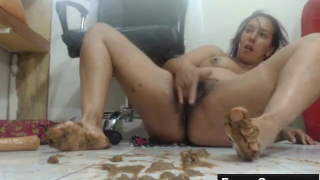 She's Masturbating Furiously As She's Covered In Shit Masturbating On Live Webcam